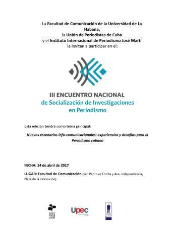CONVOCATORIA III Encuentro de Socialización Página 1